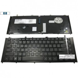 מקלדת למחשב נייד כולל מסגרת פלסטיק ועברית חרוטה HP ProBook 4425S 4420S Black 605055-001 , 605055-BB1 - 1 -
