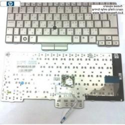 מקלדת למחשב נייד כולל עכבר מובנה ועברית חרוטה HP EliteBook 2730p Notebook Silver Keyboard 501493-001 , 501493-BB1 - 1 -