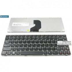 מקלדת למחשב נייד לנובו - אותיות שחורות מסגרת אפורה Lenovo Z450 , Z460 , Z460 , Z460G Laptop Keyboard - 25010836 - 1 -