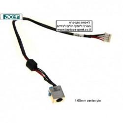 החלפת כניסת מתח ושקע טעינה למחשב נייד Acer Aspire E1-531 , V3-531 , V3-551 , V3-571  dc jack with cable for laptops , 1.65mm pin